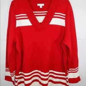 Charter Club red/white stripes LS Sweater NWT 3X